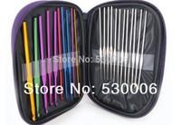 Wholesale New 22pcs in 1 Aluminum Crochet Hooks Needles Knit Weave Stitches Knitting/Latch/Bearded Needle Craft Set With Case