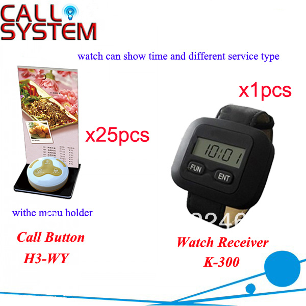 Free Shipping K-300+H3-WY for restaurant equipment with 3-key call button and watch receiver Restaurant Buzzer Systems(China (Mainland))