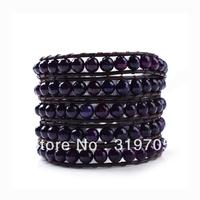 2013 fashion new purple balls leather and crystal wrap bracelets wholesale