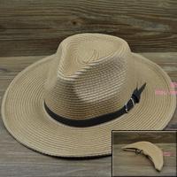 Folding outdoor male big strawhat sun-shading hat summer hat for man big strawhat fedoras