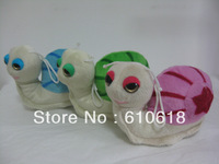 Free Shipping Wholesale 24Pcs/Lot Cute Snail Doll Mini Cell Phone Bag Pendant Keychain Figure Cartoon Plush Stuffed Toy Gifts