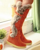 Free shipping knee boots women fashion snow winter footwear wedge shoes sexy warm half boot P7879 EUR size 34-39