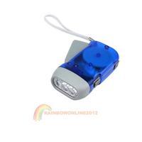 R1B1 Hand Press Flashlight Torch No Battery 3 LED New N