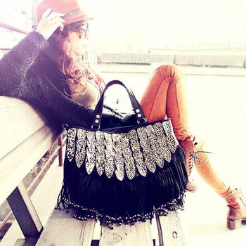 2013 female bags leopard print bag tassel patchwork bag fashion messenger bag big bags
