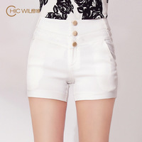 Orange 2013 fashion shorts elastic denim slim high waist white casual women's shorts