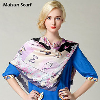 Fashion Butterfly Print Lady Silk Shawl Scarf Bandana Square Hijab