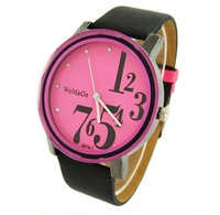 2013 Christmas gift  free shipping big Discount Watch Cow Leather Ladies Men Watch Quartz High Quality Gift For Birthday