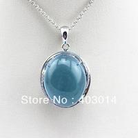 Free Shipping 100% 925 Sterling Silver Pendant 15x18mm Oval Dome Blue Topaz Cubic Zircon Pendant (PSJ0187)