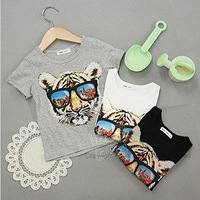 2013 summer glasses tiger boys clothing girls clothing child short-sleeve T-shirt tx-1879