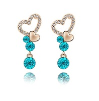 18K Gold Plated Drop Earrings Make with Swarovski Elements N8102 Crystal Blue Heart Earrings Wholesale Accessories Free Shipping