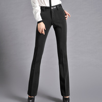 Spring and autumn women's plus size western-style trousers elastic waist flare trousers lengthen edition mid pants casual
