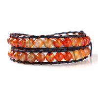 fashion orange leather beaded wrap new bracelets wholesale