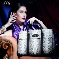Women's fashion python skin genuine leather tote bag handbag business casual 13112