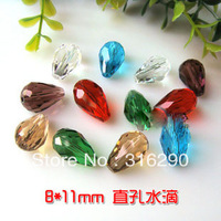 100 Mixed Crystal Quartz Teardrop Beads 5500 11x8mm glass crystal Bicone loose Beads Free Shipping