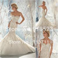Classic  Mermaid Sweetheart  Organza Brush Train Open Back Lace Wedding Dresses