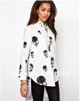 100651 Euro Fashion Style Skull Print Stand Collar Long Sleeve Long Blouse Casual Cool Chiffon Blouse Free Shipping