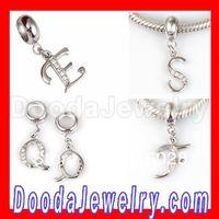 Free shipping!5pcs/lot,Charming European CZ Stone Dangle Alphabet Charm For Jewelry Making