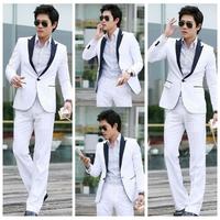 hot sale 2013 Men's slim suit work wear groom  business  suit  white S M L XL XXL XXXL