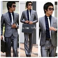 hot sale  2013 fashion casual one button  Men's slim work wear business grey S-4XL