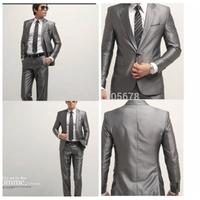 hot sale fashion brand casual  grey one button slim business suits S M L XL XXL XXXL