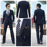 hot sale 2013 fashion men's  two button black  casual slim business suits