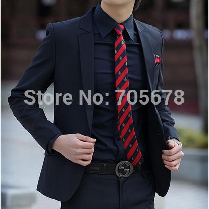 casual work wear men's slim business suits navy blue S M L XL XXL XXXL / luxury brand