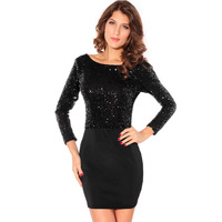 2013 Hot Selling Dl Paragraph Long-Sleeve Black One-Piece Show Thin Black Sequins Sexy Backless Dress Free Shipping