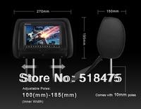 "FREE SHIPPING 2*black 9"" inch  Car Headrest DVD player +monitor  800x480 16:9 Screen FR/FM USB DVD/VCD/ MPEG4 2 IR Headphone"