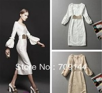 Free Shipping Elegant Style Solid Color Vneck Puff Sleeve Embroidery Bodycon Dress For Women/White Beige/Size S M L/With Belt