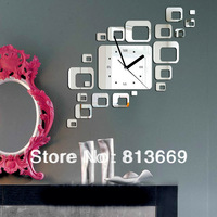 2014 new squre antique acrylic mirror wall clocks fashion home & garden decor 3d wall clock for bedroom digital diy  clock