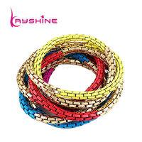 Винтажное ювелирное изделие Vintage Style Indian Jewelry Chunky Elastic Acrylic Bangles and Bracelets with Colorful Beads and Rhinestone