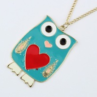 Min.order is $10 (mix order),Korean version of colorful love owl Long Necklace.Free Shipping