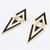 Wholesale 12pairs Fashion  Retro Black and white geometric Triangle Earrings