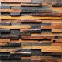 Natural wood mosaic tile 3D wall pattern NWMT022 kitchen tile backsplash mosaic wood panel strip tile mosaic floor tiles