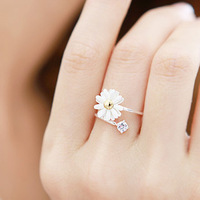 promotion women fashion lovely jewelry white crystal rhinestone daisy flower rings free shipping
