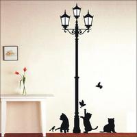 Transparent PVC removable wall stickers Three Black cat tower cartoon wall stickers DM57100,perlot size 50*70