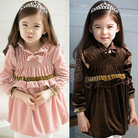 2013 autumn bow laciness girls clothing baby child long-sleeve dress qz-0598