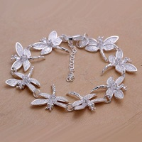 H121 Free Shipping 925 Silver Bracelet Fashion Jewelry Bracelet Eight dragonfly bracelet    121