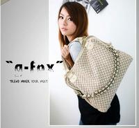 Ladies bags 2013 fashion women's handbags brands high quality woven web designer shoulder bag for women real pu leather handbags
