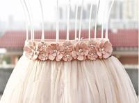 All-match cronyism women's rhinestone sweet flower strap crystal loose black belt p601 summer dress 2014 cummerbund