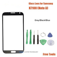 Wholesale new Gray Front Digitizer Touch Outer Screen Glass Lens Replacement for Samsung Galaxy Note 2 Note II +Tools+Adhesive