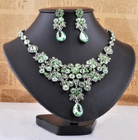 New Fashion Multi-Colored Flower Huge Glamous Silver Plated Crystal Necklace Earring Set Prom Wedding Party Vogue Jewelry Set