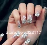 Bride handmade diamond finished  nail art patch ,10pcs/set,10fingers