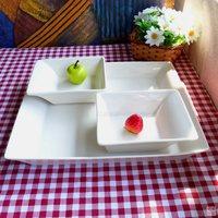 Ceramic tableware plus size western style rectangular dish plate shaped salad bowl set