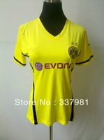 Free Shipping Hot Sell 2013 New Arrival Borussia Dortmund  Yellow Women's Shirts Soccer Jerseys Embroidery Brand Logo
