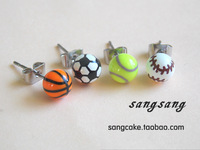 Football stud earring baseball stud earring tennis ball stud earring basketball stud earring small spherical stud earring