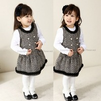 2013 autumn and winter female child all-match tvest dress woolen girls  one-piece dress