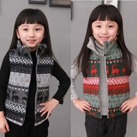 2013 autumn and winter girls children's wool knitted christmas deer clip cotton vest baby clip cotton vest