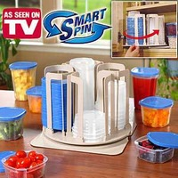 [Worldwide FREE Shipping] AS SEEN ON TV Spin n Store Smart Spin 49 Pieces Food Storage Set Bin Box Container Clear Holder Lid