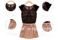 1 piece/lot Fashion Chiffon 2013 Lace Ruffle Sleeve Round Collor Jumpsuits Overall Women Shorts S/M/XL/XL